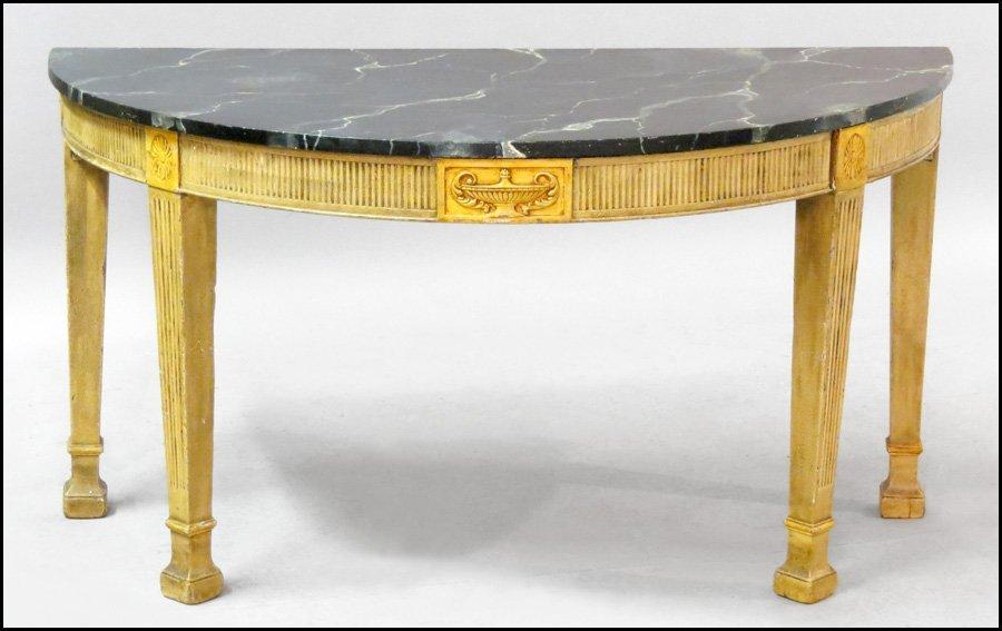 1171021: CONTEMPORARY DEMILUNE CONSOLE TABLE.