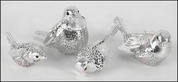 1172130 FOUR CHRISTOFLE SILVERPLATE BIRDS