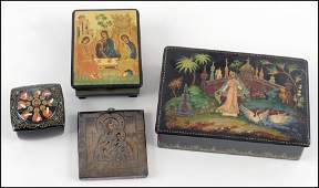 THREE RUSSIAN PAINTED LACQUER BOXES.