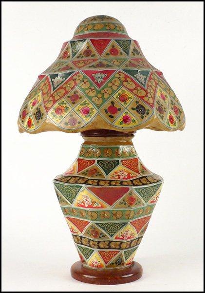 1172191: PAINTED CAMEL BLADDER LAMP AND SHADE.
