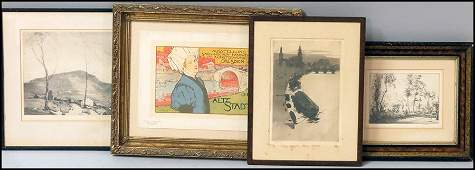 1176085 GROUP OF FOUR FRAMED ASSORTED PRINTS