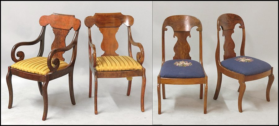 TWO PAIRS OF EMPIRE SIDE CHAIRS.