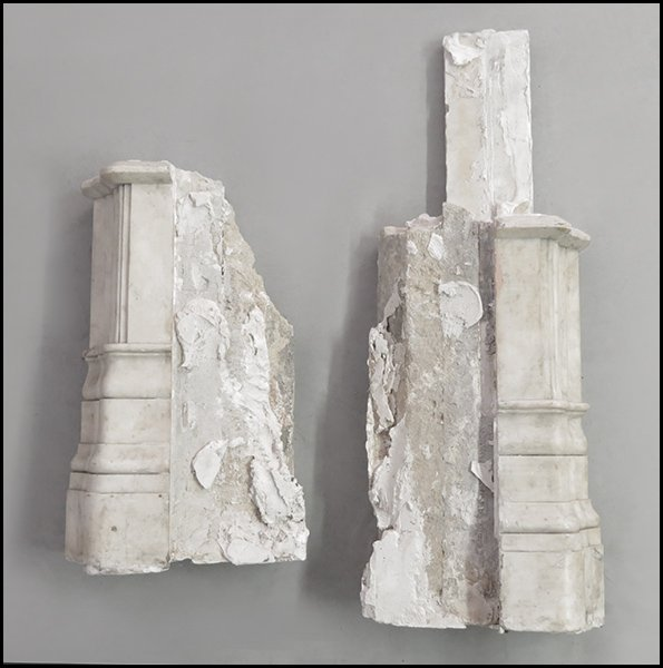 CARVED MARBLE PARTIAL FIREPLACE MANTLE.