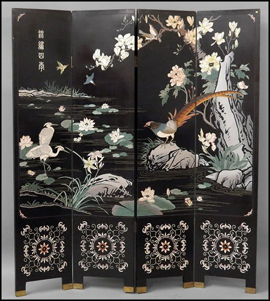 CHINESE FOUR PANEL SCREEN.