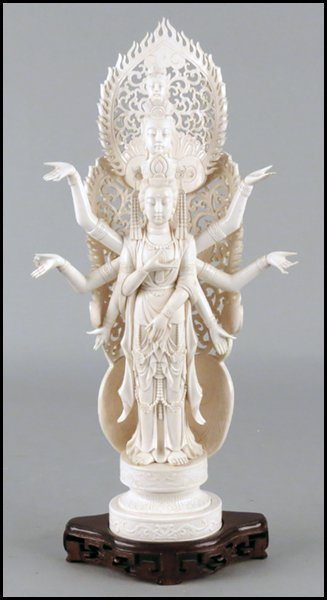 SOUTH EAST ASIAN CARVED IVORY FIGURE OF A GODDESS.