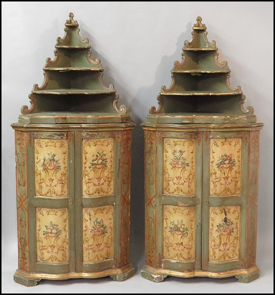 PAIR OF ITALIAN PAINTED CORNER CABINETS.