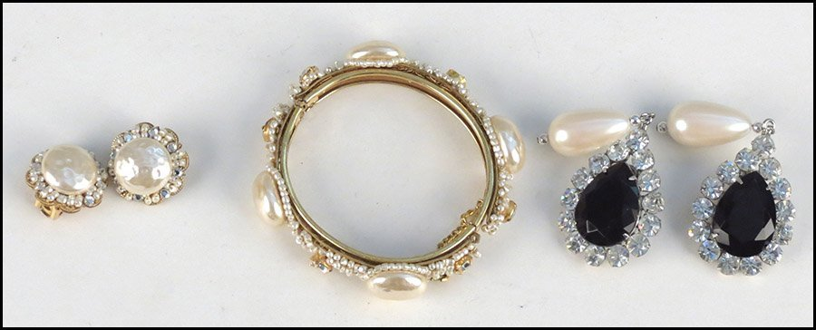 MIRIAM HASKELL RHINESTONE AND FAUX PEARL DEMI-PARURE.