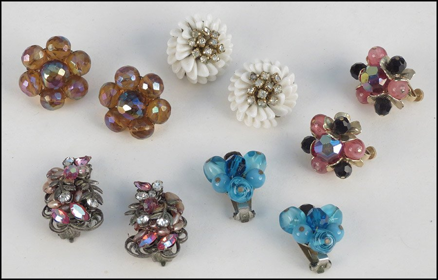 FIVE PAIRS OF SIGNED EARCLIPS.