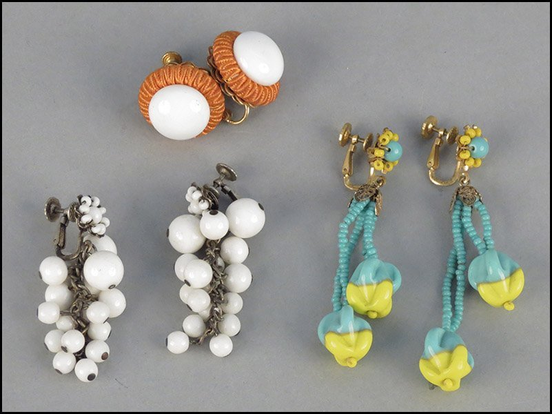 THREE PAIRS OF MIRIAM HASKELL EARCLIPS.