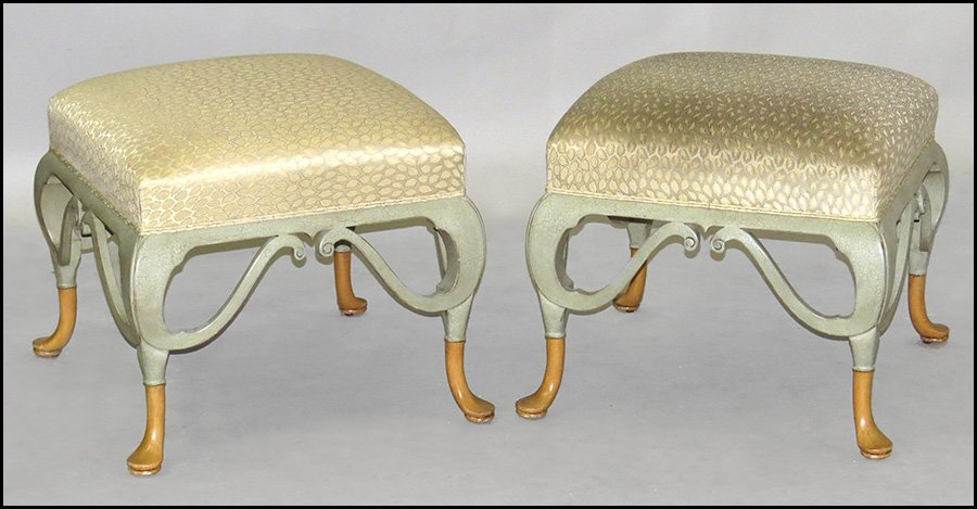 PAIR OF WILLIAM SWITZER PAINTED AND UPHOLSTERED STOOLS.