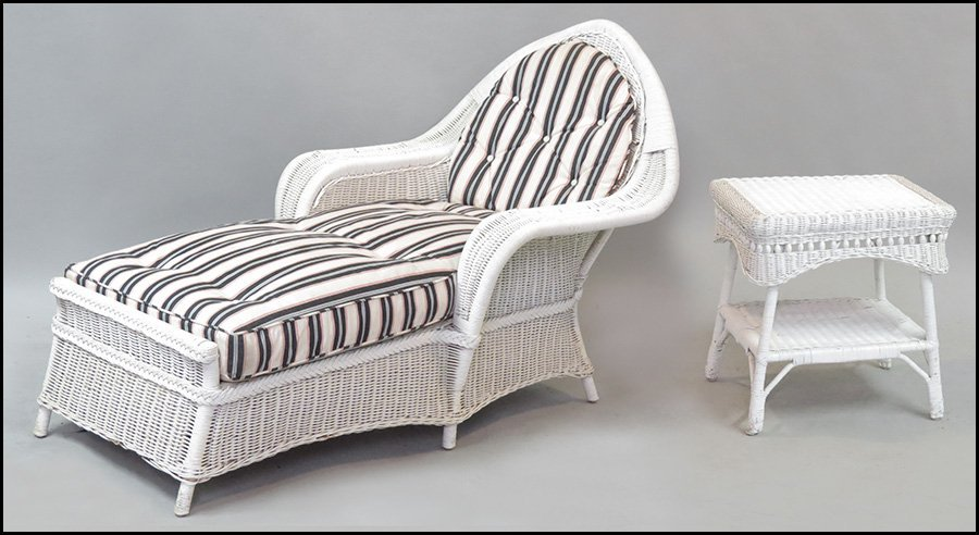 WICKER CHAISE LOUNGE.