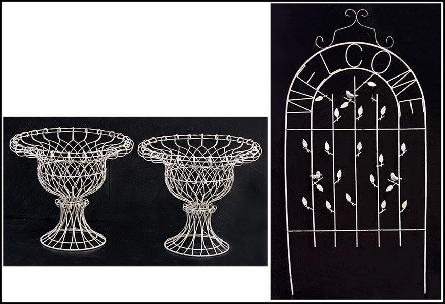 PAIR OF WIRE PLANTERS.