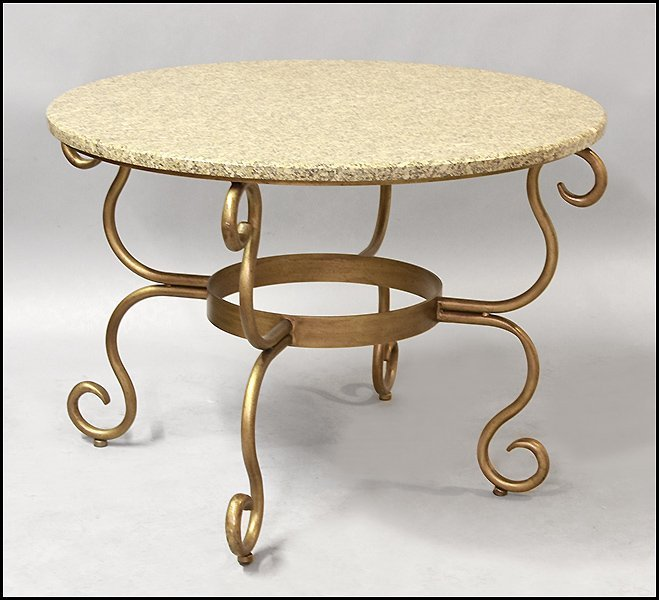 MARBLE TOP ROUND TABLE.