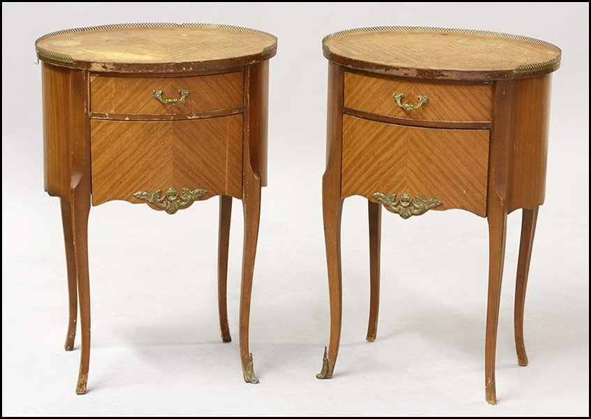 PAIR OF PARQUETRY SIDE TABLES.