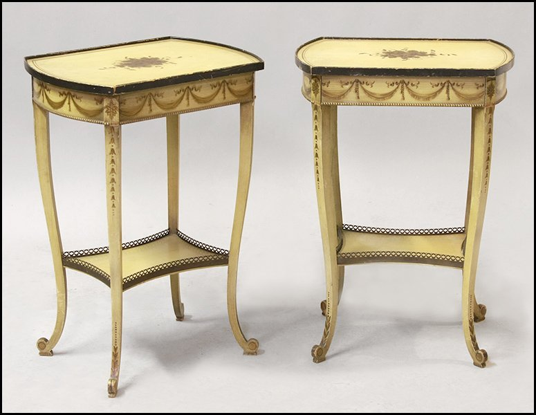 PAIR OF PAINTED AND STENCIL DECORATED SIDE TABLES.