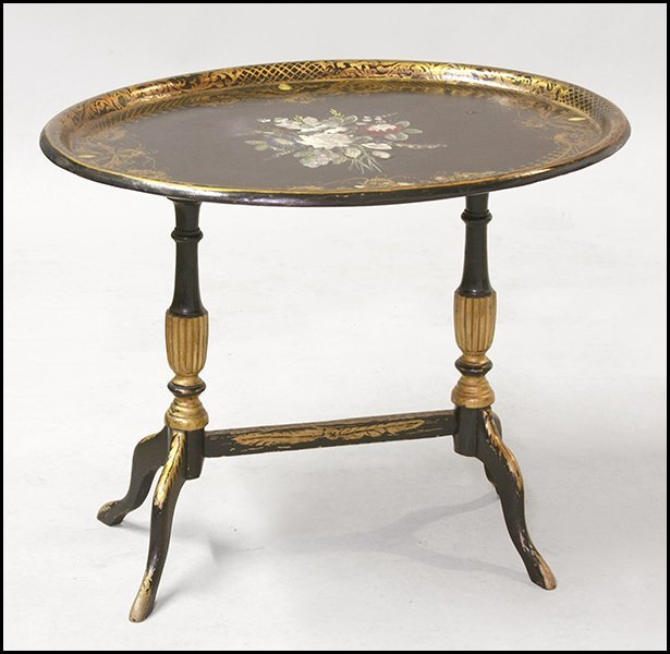 REGENCY STYLE PAPIER MACHE TRAY TABLE.