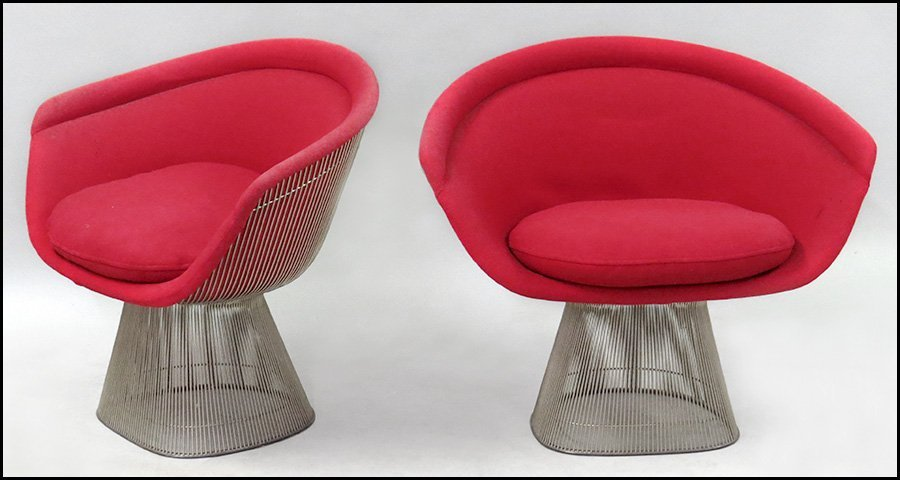 PAIR OF WARREN PLATNER FOR KNOLL LOUNGE CHAIRS.