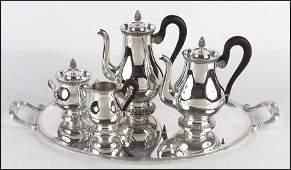 CHRISTOFLE SILVERPLATE FIVE-PIECE TEA AND COFFEE SERVIC