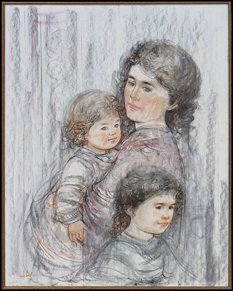 EDNA HIBEL (AMERICAN, B. 1917) MOTHER AND CHILDREN.