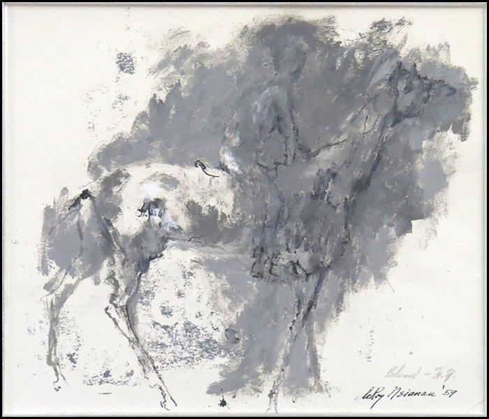 LEROY NEIMAN (AMERICAN, 1921-2012) BELMONT, 1959.