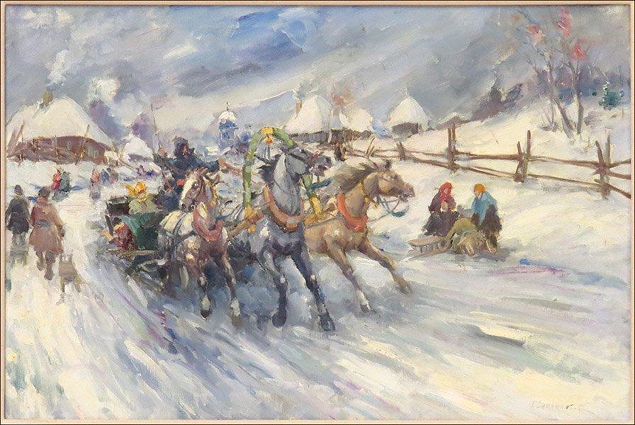 VLADIMIR LAZAREV (20TH CENTURY) THE RUSHING SLEIGH.