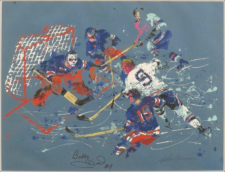 LEROY NEIMAN (AMERICAN, 1921-2012) BOBBY HULL SHOOTS ON