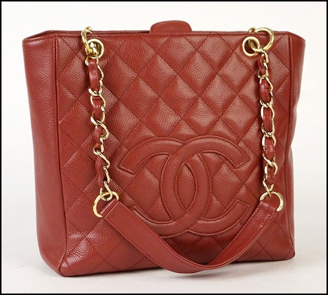 CHANEL RED CAVIAR LEATHER QUILTED TOTE.