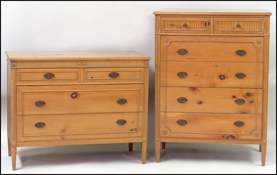 TWO KNOTTY PINE CHESTS OF DRAWERS.