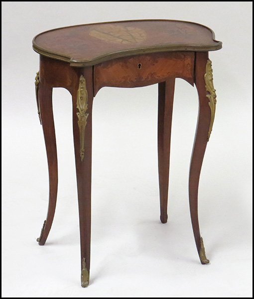 FRENCH MARQUETRY INLAID SINGLE DRAWER TABLE.