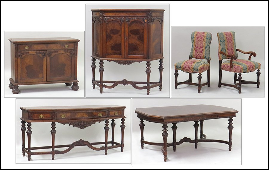 CARVED MAHOGANY DINING SUITE.
