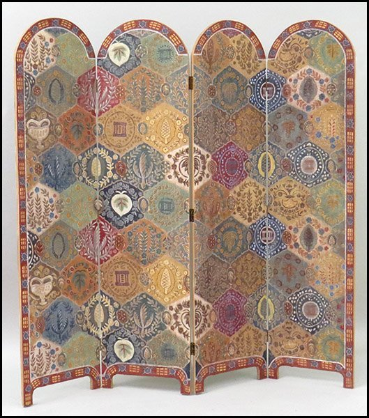 FOUR PANEL PAINTED SCREEN.