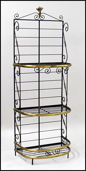 BRASS AND PATINATED METAL BAKER'S RACK.