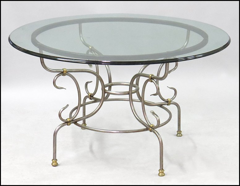 CONTEMPORARY BRUSHED METAL DINING TABLE.