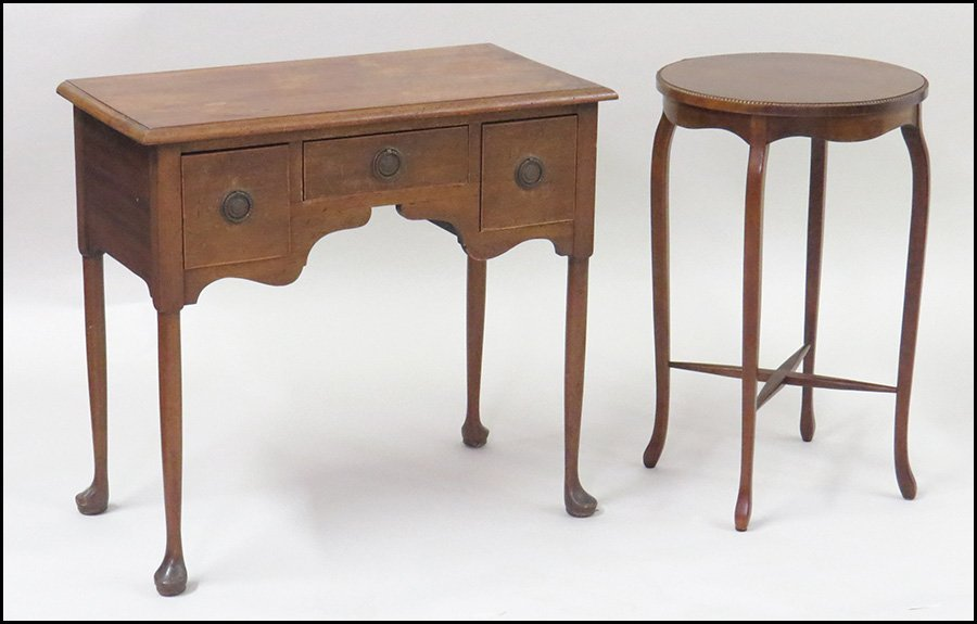QUEEN ANNE STYLE OAK THREE-DRAWER SIDE TABLE.