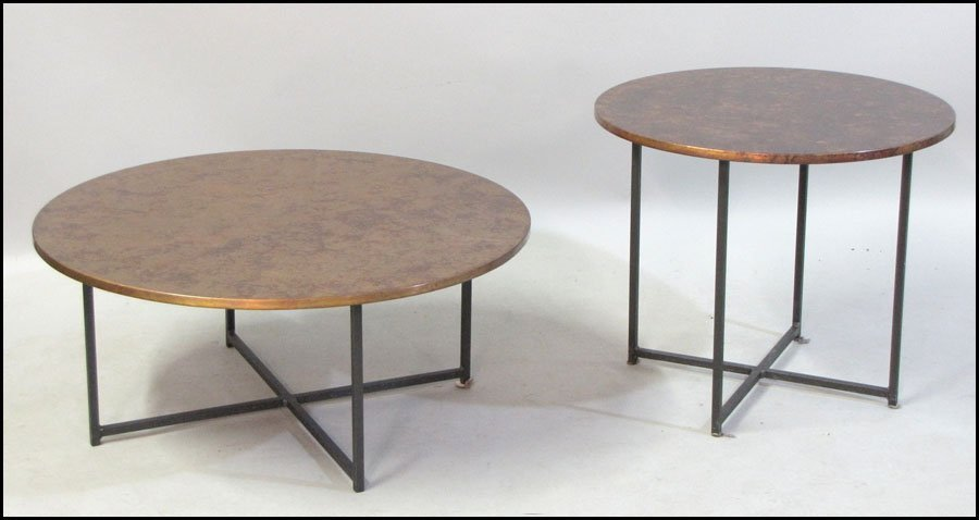 TWO CONTEMPORARY METAL COCKTAIL TABLES.