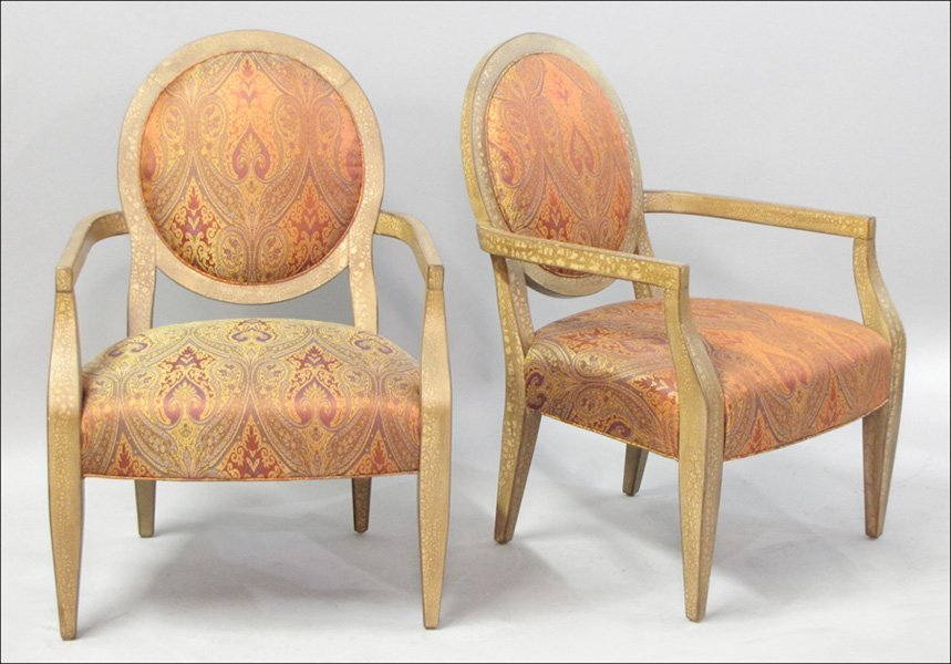 PAIR OF CONTEMPORARY UPHOLSTERED OPEN ARMCHAIRS.