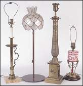 NEO-CLASSICAL STYLE GILT METAL TABLE LAMP.