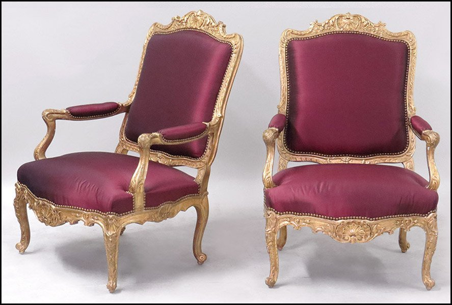 PAIR OF ROCOCO STYLE GESSO AND GILTWOOD ARMCHAIRS.