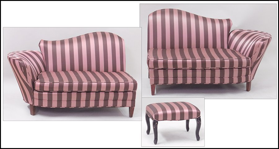 PAIR OF SILK UPHOLSTERED SETTEE CHAISES.