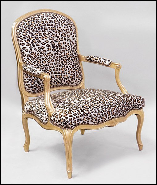 FRENCH GILTWOOD OPEN ARMCHAIR.