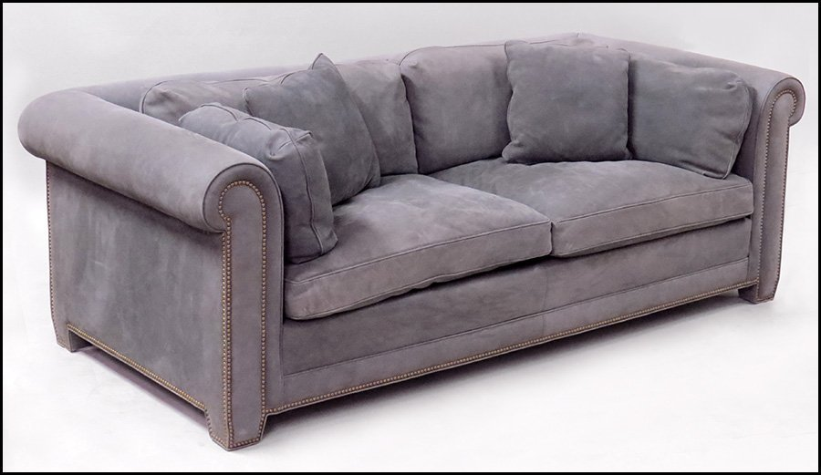 LEATHER UPHOLSTERED SOFA.