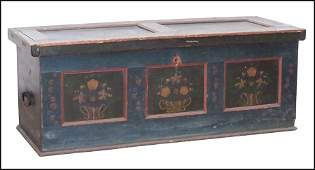 19TH CENTURY GERMAN PAINTED PINE BLANKET CHEST.