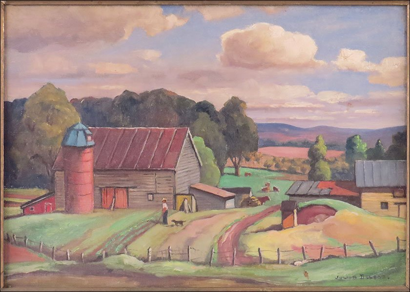 JULIUS DELBOS (AMERICAN, 1879-1970) BUCOLIC LANDSCAPE.