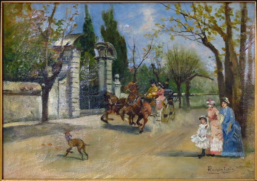 ERNESTO POCHINTESTA (1840-1891) LEISURE TIME IN THE PAR