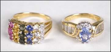 TANZANITE DIAMOND AND 14 KARAT YELLOW GOLD RING