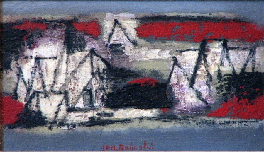 JUN DOBASHI (1910-1975) PAYSAGE CAMPAGNE.