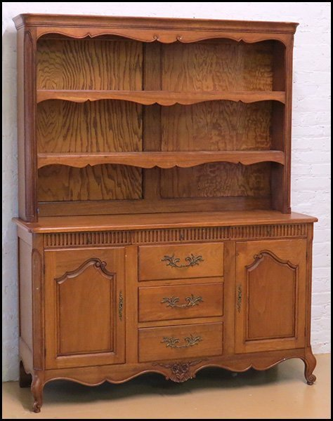 CARVED OAK CUPBOARD.