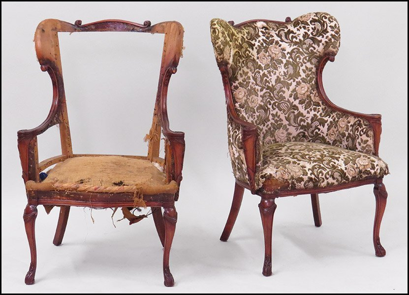 PAIR OF MAHOGANY WINGBACK CHAIRS.