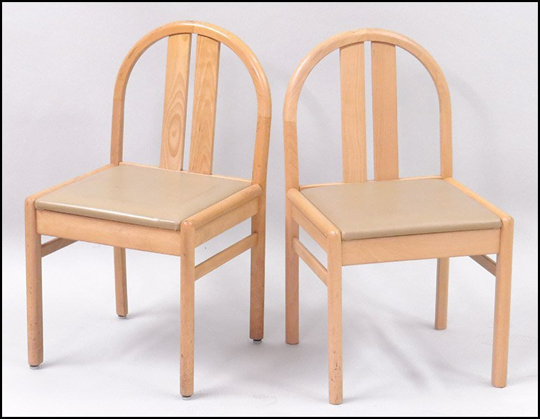 SET OF FOUR LOWENSTEIN BLOND WOOD SIDE CHAIRS.