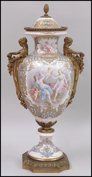A 19TH CENTURY FRENCH SEVRES PAINTED AND BRONZE MOUNTED